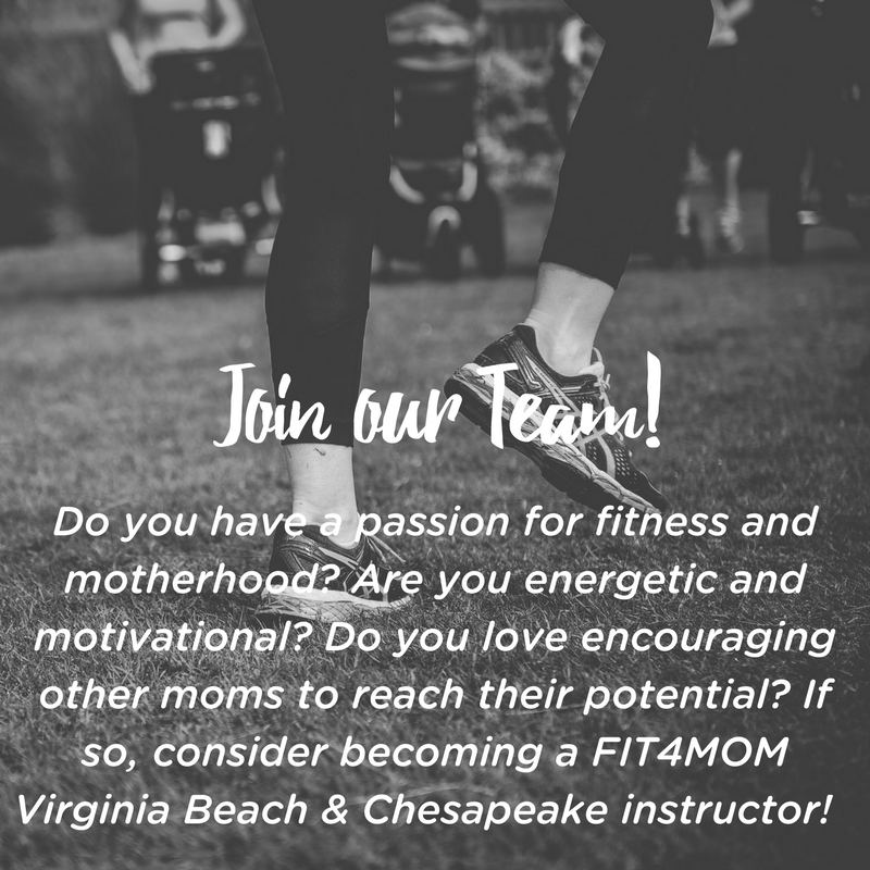 Do you have a passion for fitness and motherhood- Are you energetic and motivational- Do you love encouraging other moms to reach their potential- If so, consider becoming a FIT4MOM Virginia Beach & Chesapeake instru.png